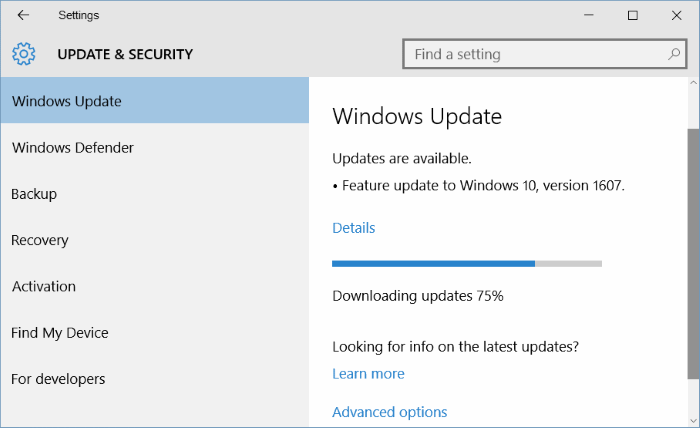 Windows 10 Anniversary Update 1607 download