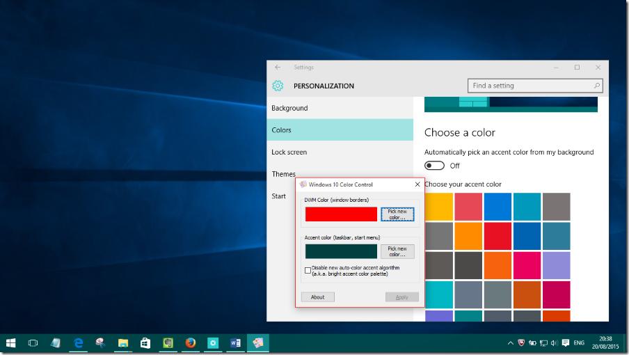 Control de color de Windows 10