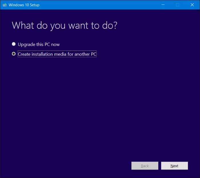 Herramienta de creación multimedia de Windows 10