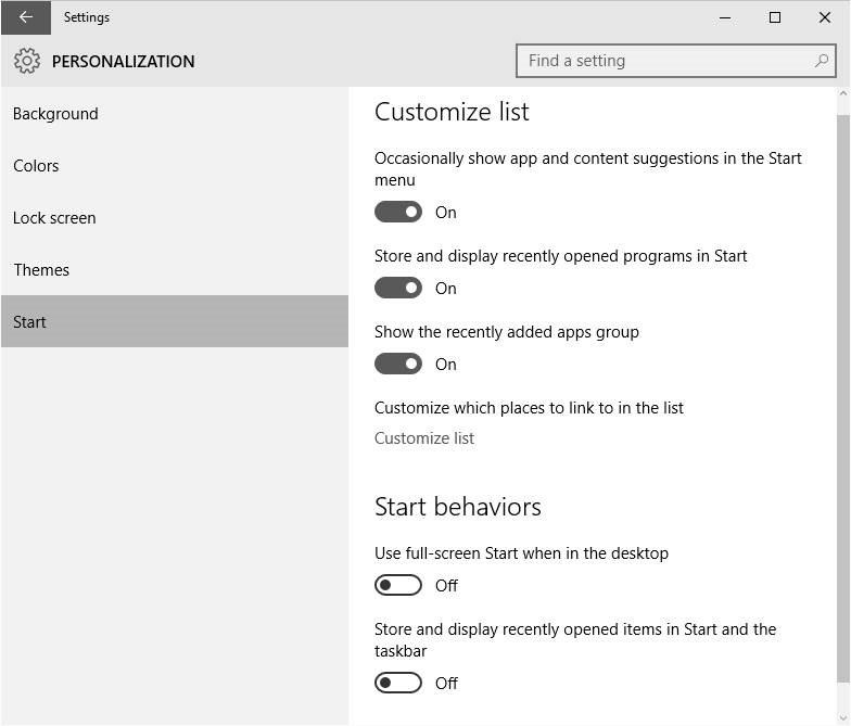 Windows 10 Start menu settings picture1