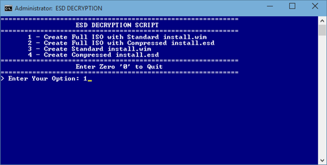 Windows 10 iso del archivo ESD step1