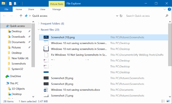 Windows 10 no guarda capturas de pantalla en la carpeta Screenshots pic32