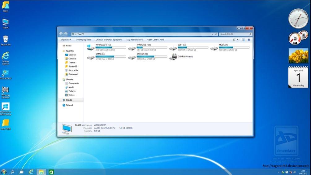 Tema de Aero de Windows 7 para Windows 10