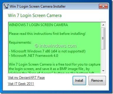 Windows 7 Login Screen Camera
