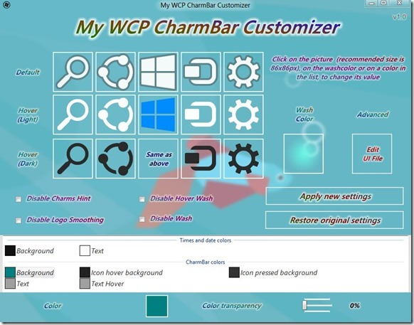 Windows 8 Charms Bar Customizer Picture