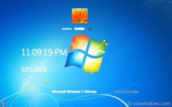 Windows 8 Logon Screen With Date & Time For Windows 7