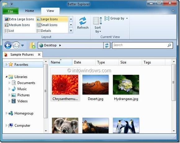 Windows 8 Ribbon UI Explorer For Windows 7 Picture