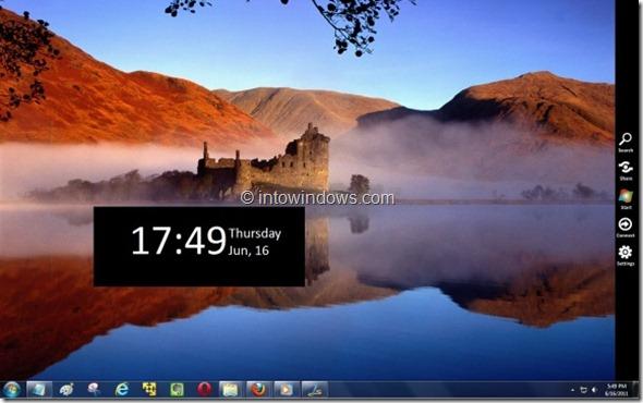 Menú lateral de Windows 8