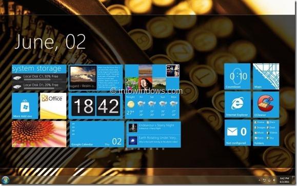 Final de la pantalla de inicio de interfaz de usuario de Windows 8 Tablet