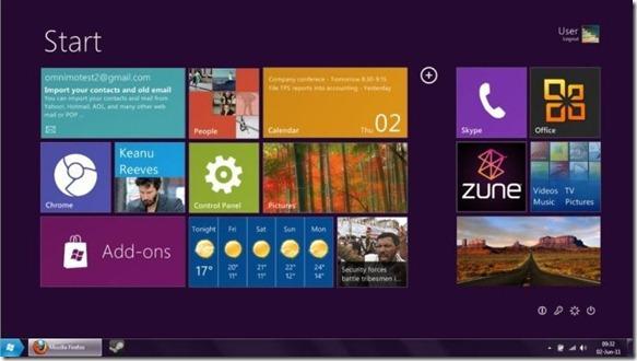 Pantalla de inicio de la interfaz de usuario de Windows 8 Tablet para Windows 7