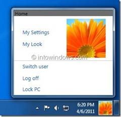 Imagen de usuario de la barra de tareas de Windows 8