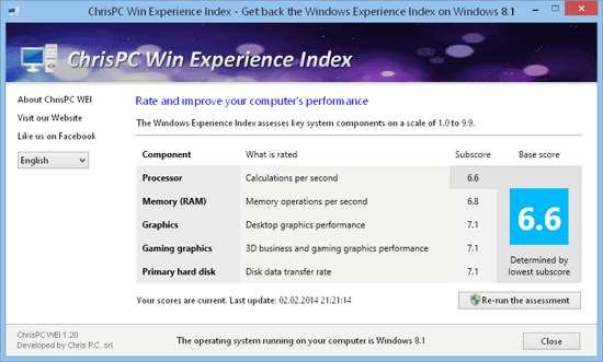 get Windows Experience Index for Windows 8.1