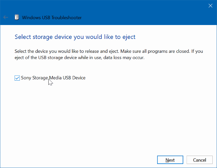 Windows USB Troubleshooter pic1