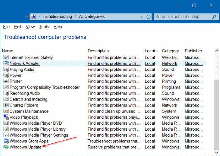 Solucionador de problemas de actualizaciones de Windows para Windows 10 pic4