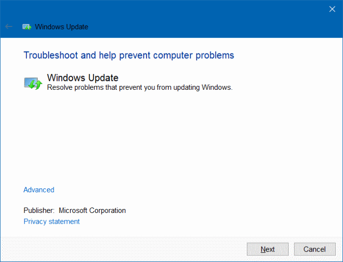 Solucionador de problemas de actualizaciones de Windows para Windows 10 pic5