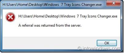 Error en el cambiador de iconos de bandeja de Windows 7