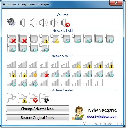 Cambiador de iconos de bandeja de Windows 7