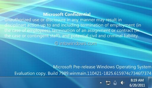 Winodws 8 Build 7989 Marca de agua en Windows 7 Destkop