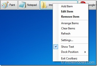 XP Desktop Toolbar Options