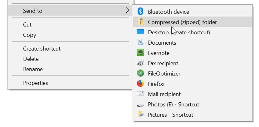 agregar carpetas para enviar al menú en Windows 10 pic1