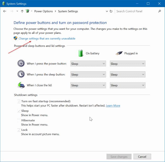 agregar opción de hibernación al menú de energía en Windows 10 Inicio pic4