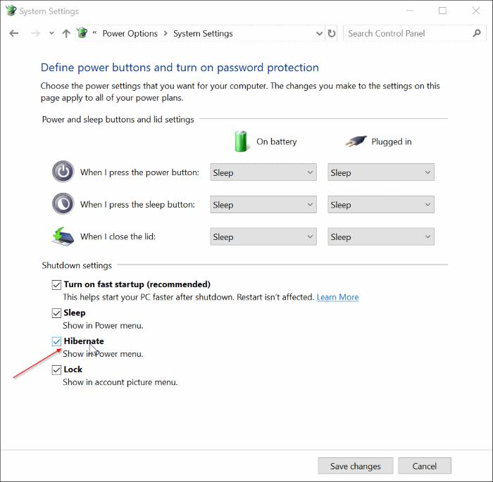 agregar opción de hibernación al menú de energía en Windows 10 Inicio pic5