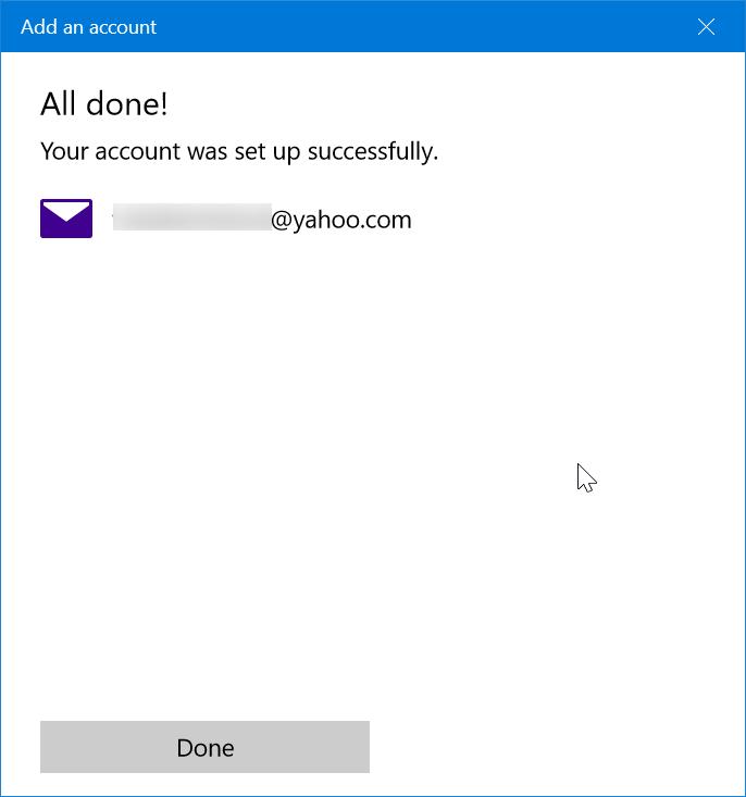 agregar una cuenta de correo yahoo a Windows 10 mail step11
