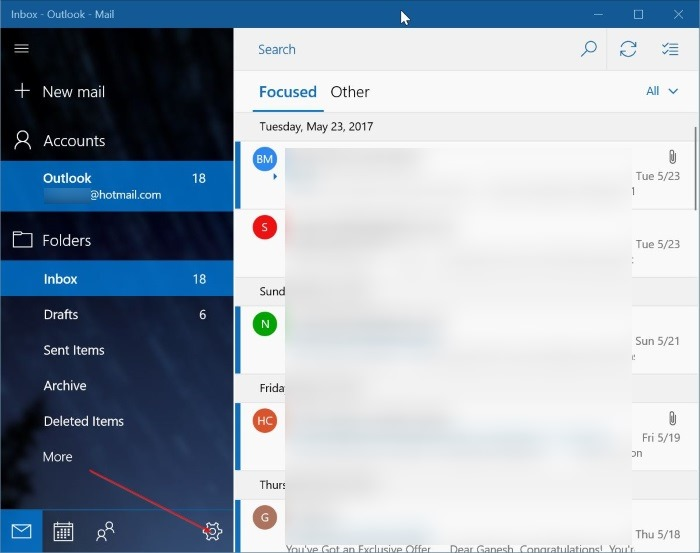 agregar una cuenta de correo de yahoo a Windows 10 mail step1
