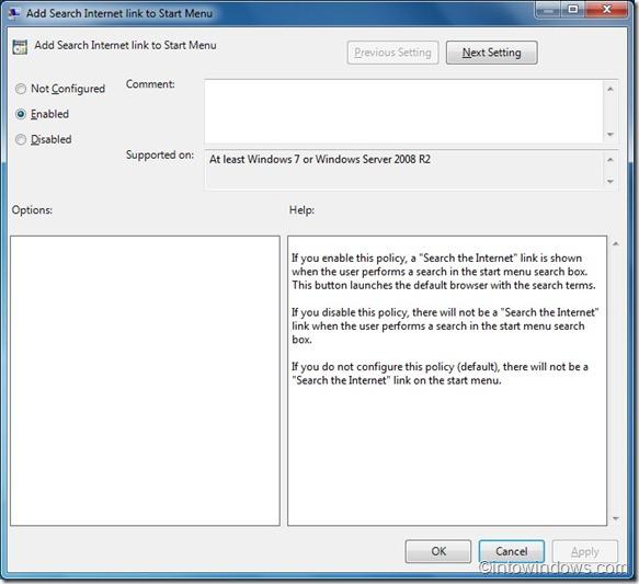 add search internet link to start menu in windows 7