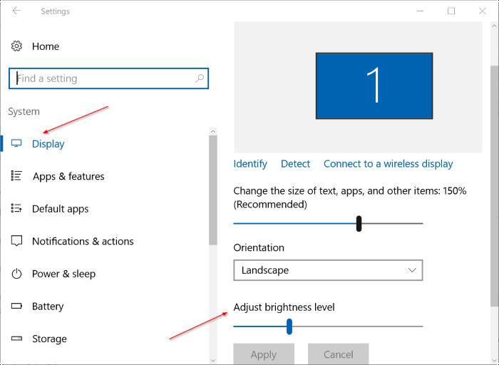 ajustar el brillo de la pantalla en Windows 10 pic2