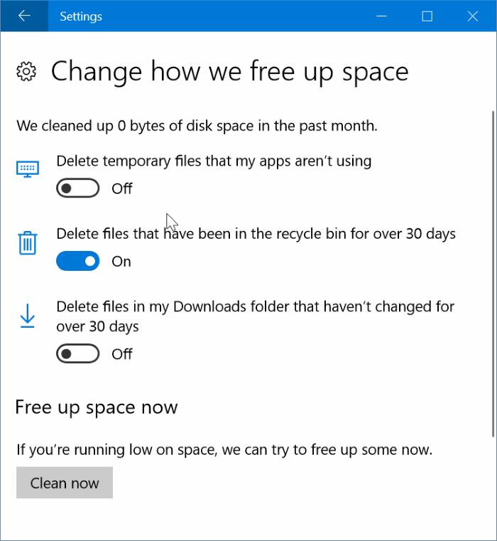 borrar automáticamente borrar archivos de la papelera de reciclaje en Windows 10 pic2