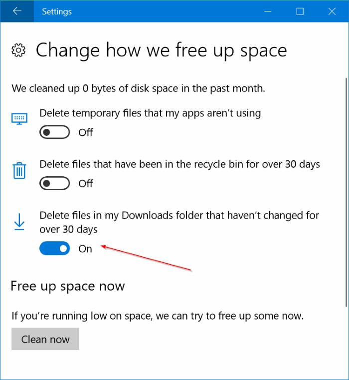 eliminar automáticamente los archivos de la carpeta Downloads en Windows 10 pic2