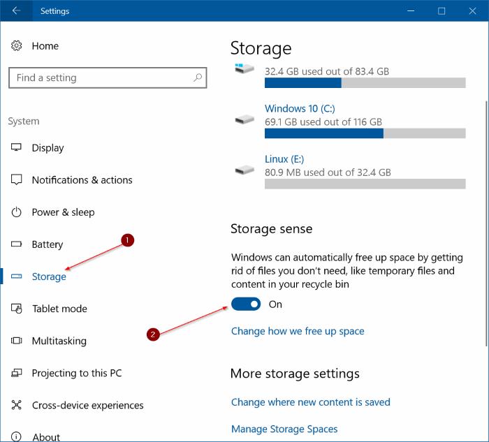 libera automáticamente espacio en disco en Windows 10 pic1