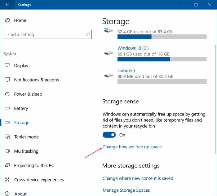 libera automáticamente espacio en disco en Windows 10 pic2