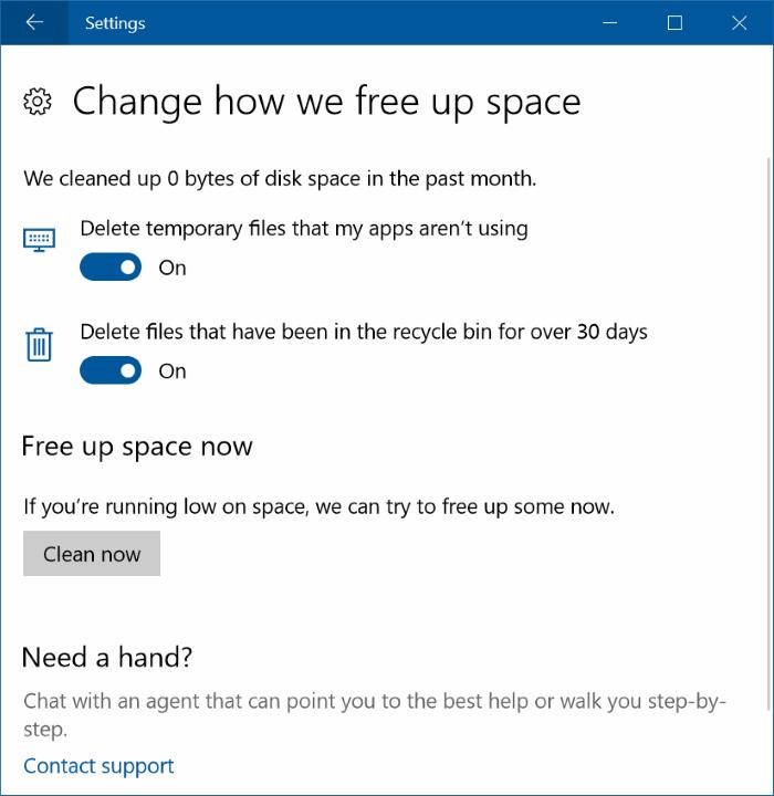 libera automáticamente espacio en disco en Windows 10 pic3