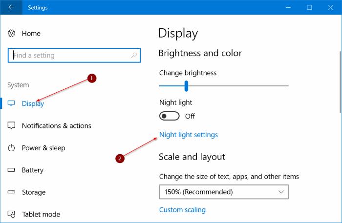 activar automáticamente el modo de luz nocturna en Windows 10 pic1