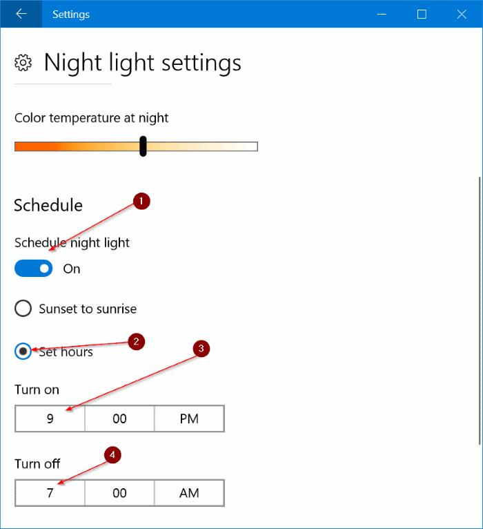 activar automáticamente el modo de luz nocturna en Windows 10 pic3