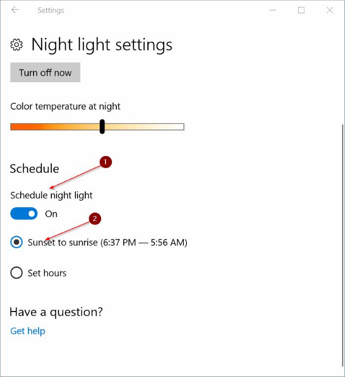 activar automáticamente el modo de luz nocturna en Windows 10 pic4