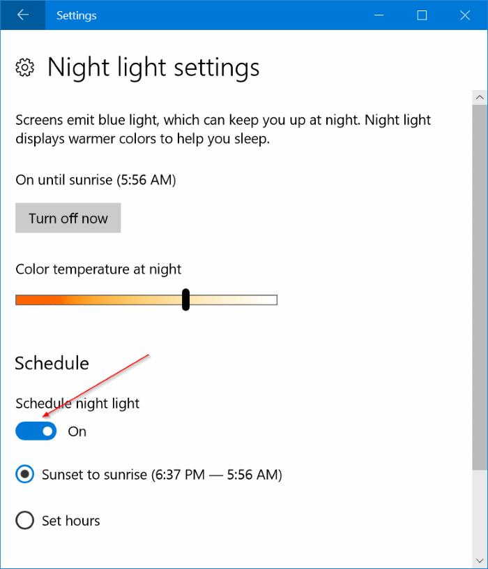 activar automáticamente el modo de luz nocturna en Windows 10 pic5