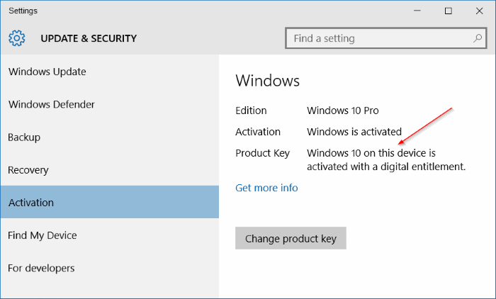 copia de seguridad de la activación de Windows 10