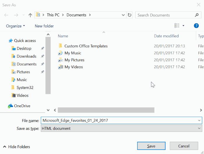 copia de seguridad o exportación de los favoritos de Edge pic4