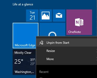 en blanco Categorías del menú Inicio Windows 10 pic3