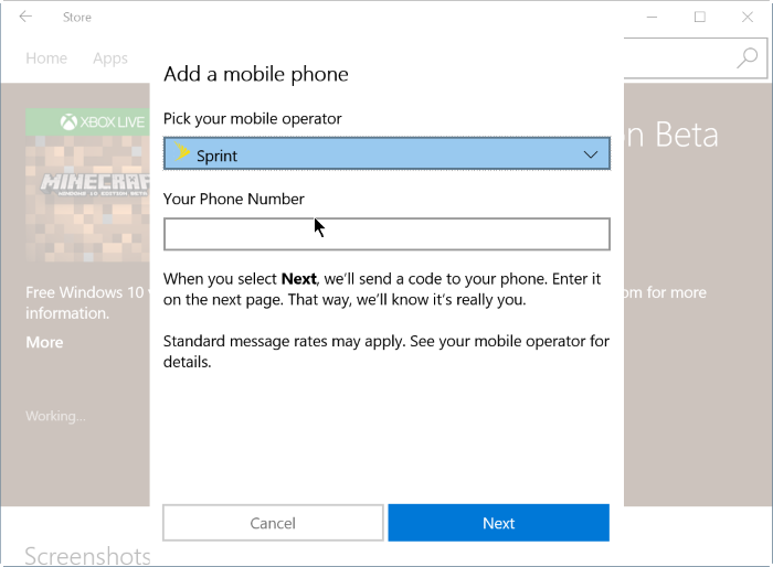 comprar aplicaciones y juegos usando el balance del teléfono móvil en Windows 10 step6