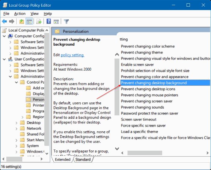 no puede cambiar el fondo de escritorio en Windows 10 pic2