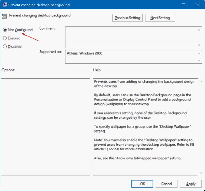 no puede cambiar el fondo del escritorio en Windows 10 pic3