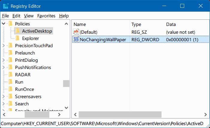 no puede cambiar el fondo del escritorio en Windows 10 pic5