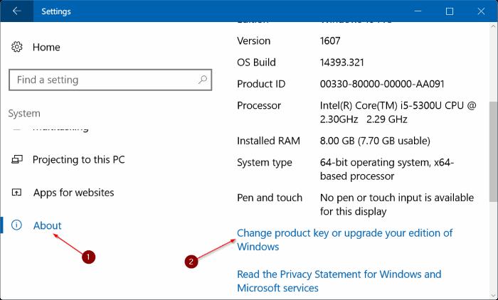 cambiar la clave de producto de Windows 10 pic2.1