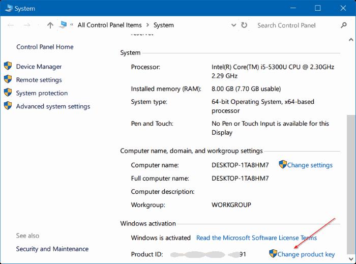 cambiar la clave de producto de Windows 10 pic4