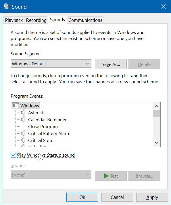 cambiar el sonido de inicio de Windows 10 pic2