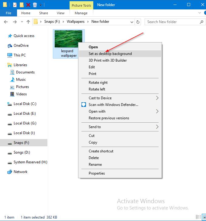 cambiar el fondo de pantalla de Windows 10 sin activación pic1